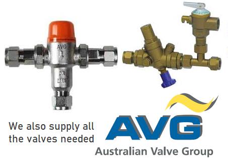 AVG solar valves are used in Envirosun solar hot water systems